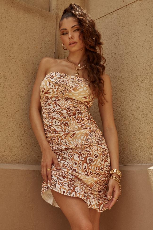 Φόρεμα Animal Print με Σούρες