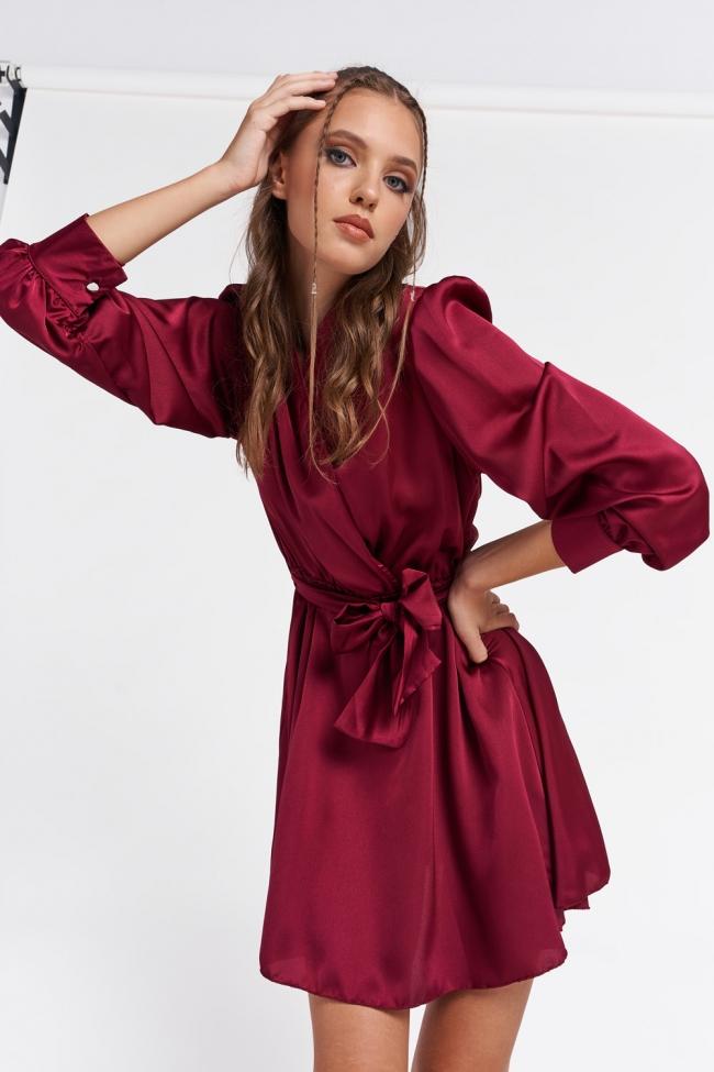 Φόρεμα Satin Κρουαζέ με Ζωνάκι