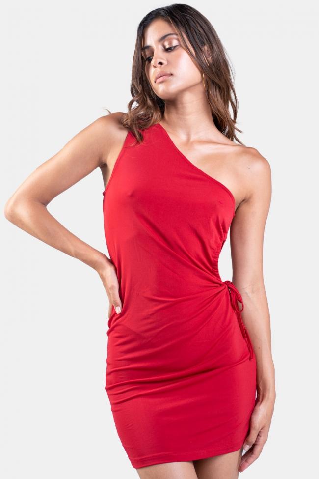 Φόρεμα με Εναν Ωμο και Ανοιγμα στο Πλάι