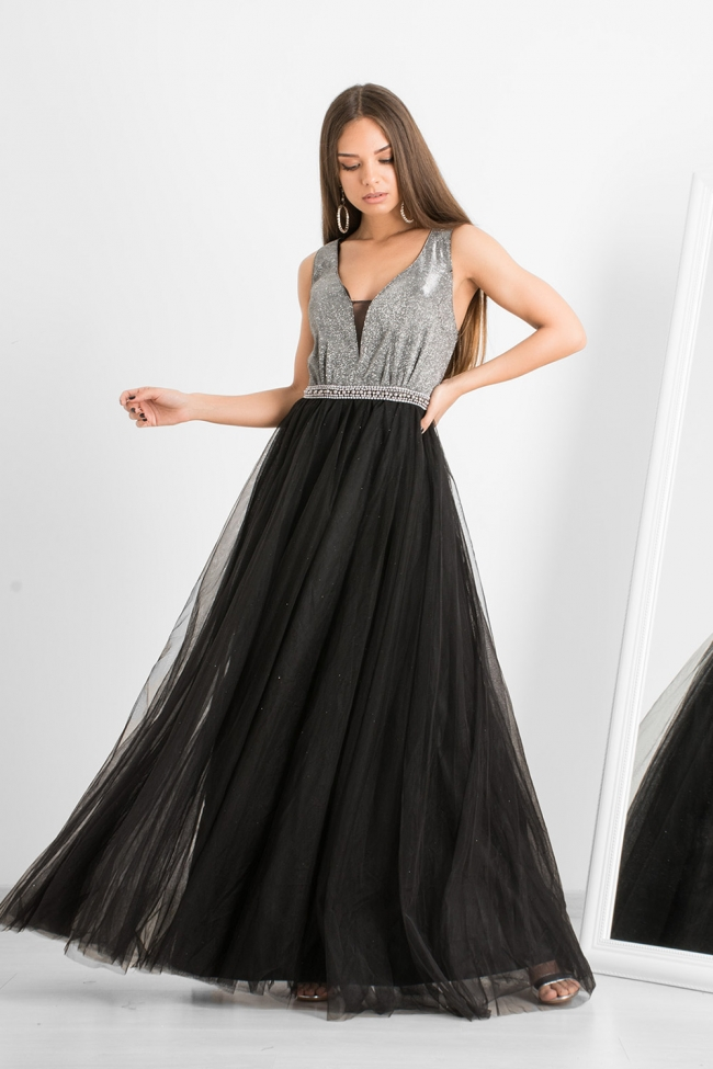 Φόρεμα με Glitter και Τούλι