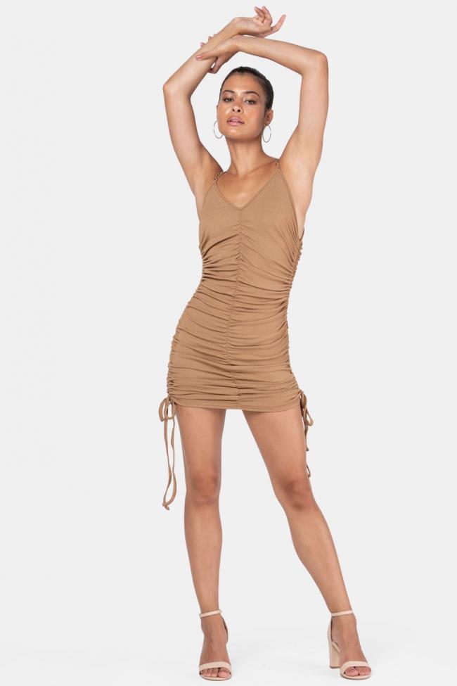 Φόρεμα Ριπ με Αλυσίδα και Σούρες