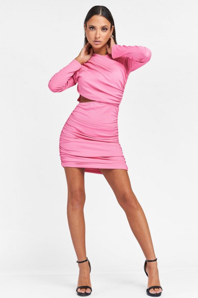 Φόρεμα Ριπ με Ανοιγμα και Σούρες