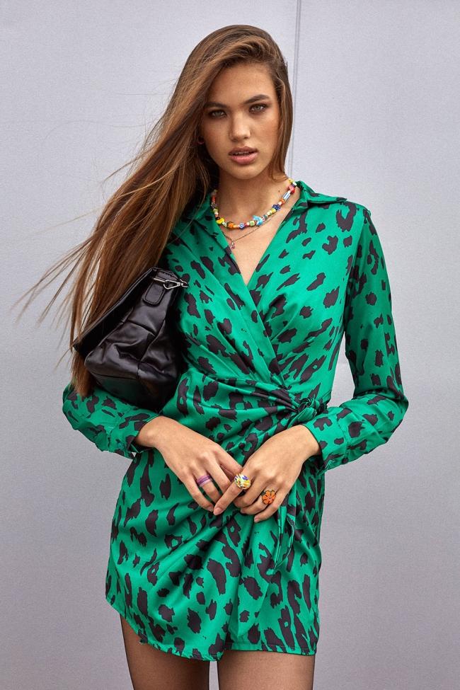 Φόρεμα Satin Animal Print