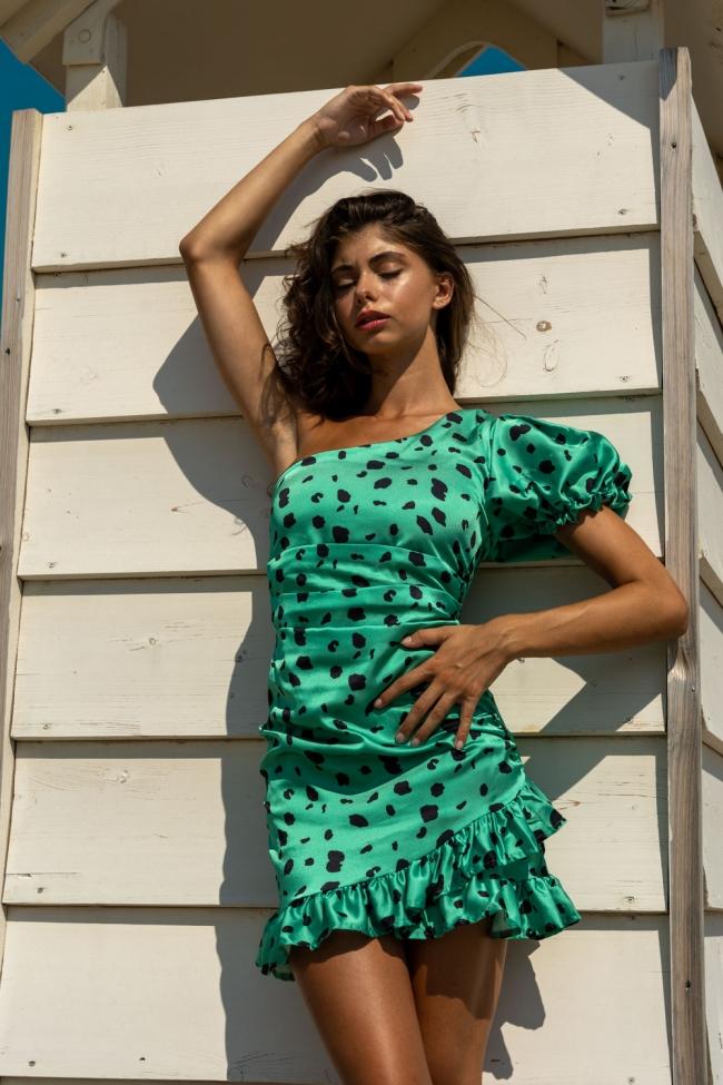 Φόρεμα Satin με Εναν Ωμο