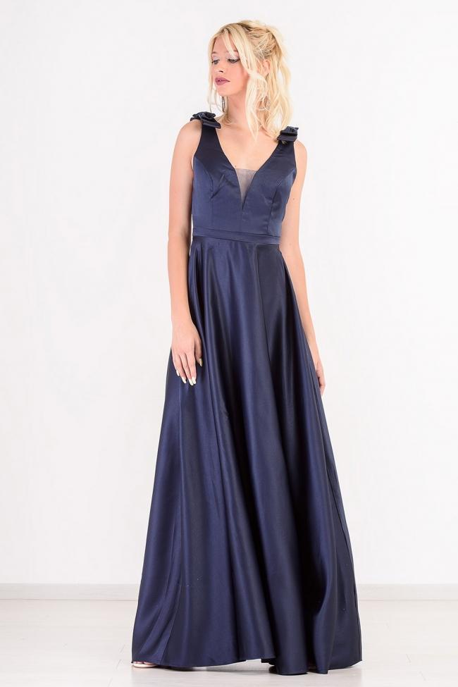 Φόρεμα Satin με Φιόγκους στους Ωμους