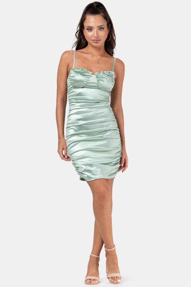 Φόρεμα Satin με Σούρες