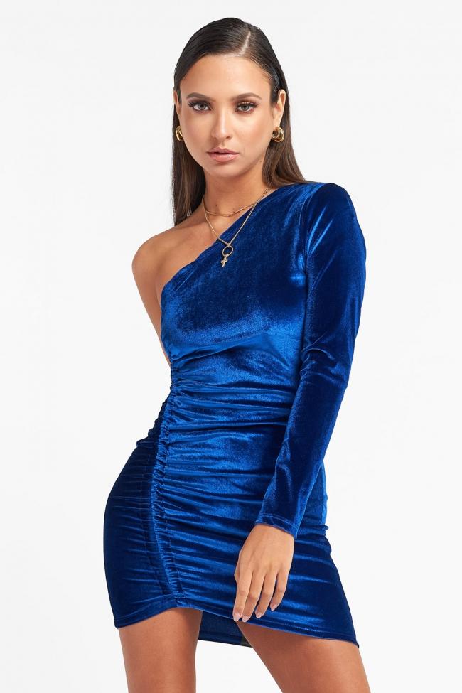 Φόρεμα Velvet με Εναν Ωμο