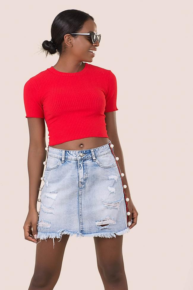 Φούστα jean με ρίγες & πέρλες