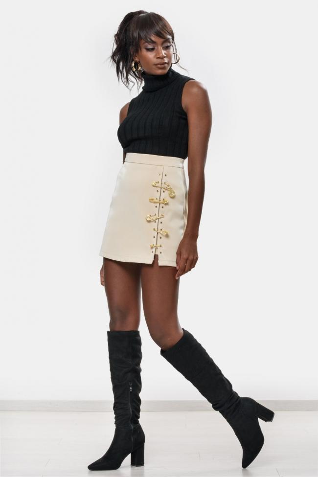 Φούστα-Shorts με Χρυσές Λεπτομέρειες