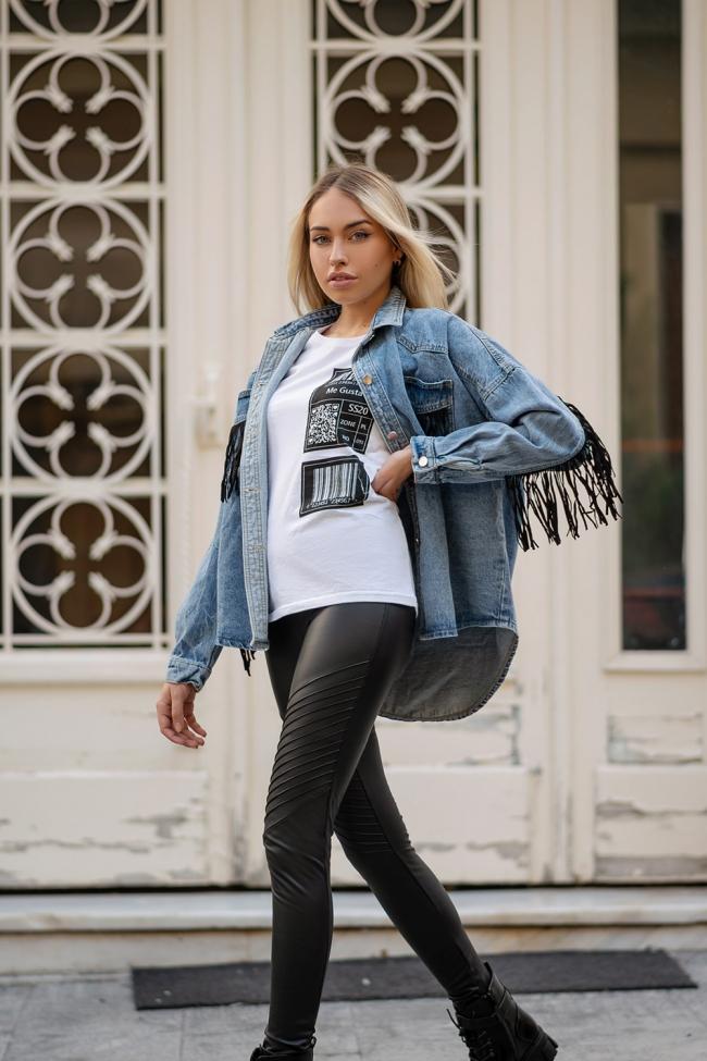Jacket Jean με Κρόσσια