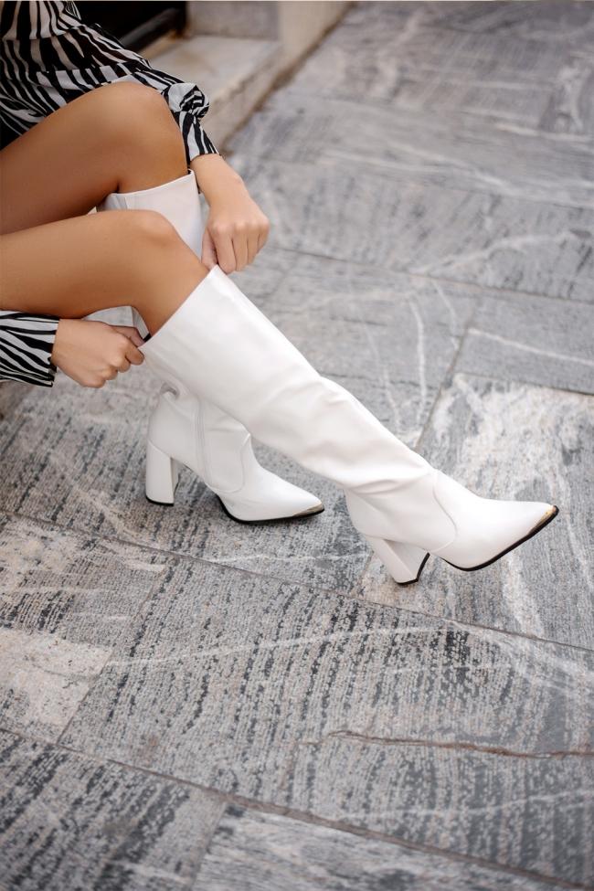 Μπότες Δερματίνη με Χοντρό Τακούνι