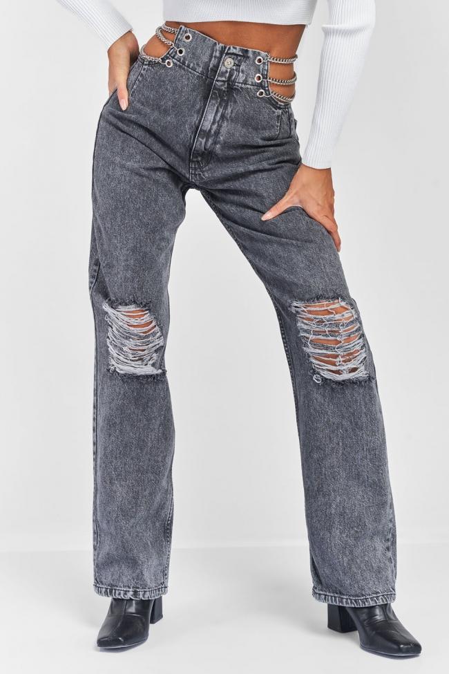 Παντελόνι Jean με Αλυσίδα και Σκισίματα