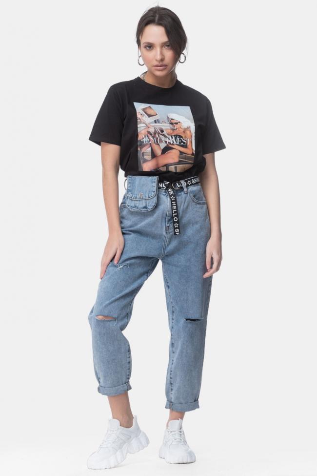 Παντελόνι Jean Ψηλόμεσο με Beltbag