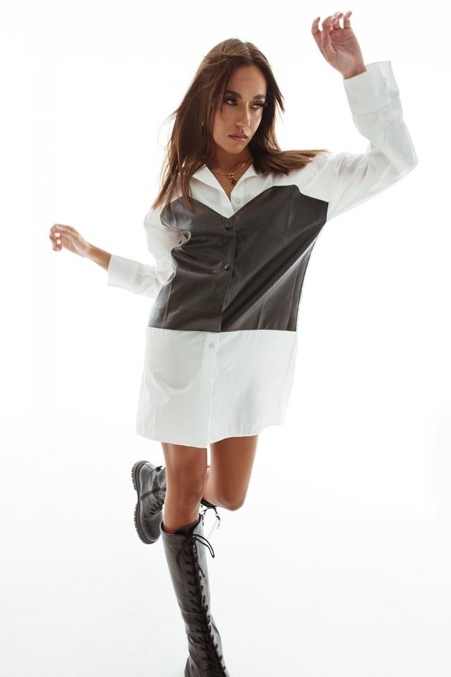 Πουκάμισο Φόρεμα με Δερματίνη Λεπτομέρειες