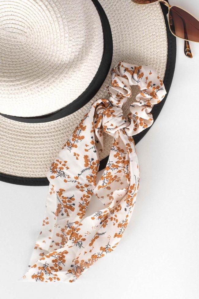 Scrunchies Floral με Κορδέλα