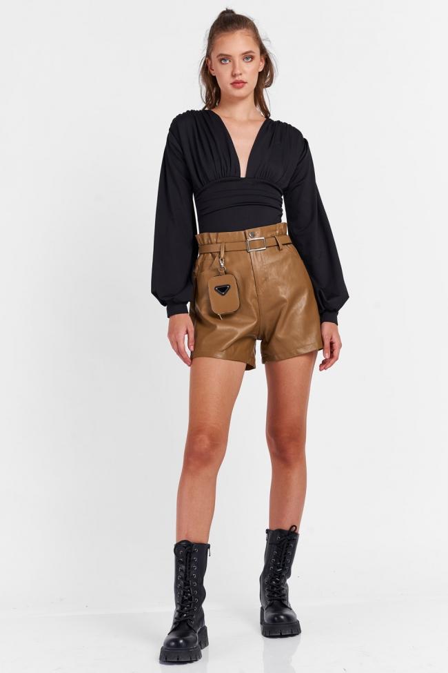 Shorts Δερματίνη με Ζωνάκι