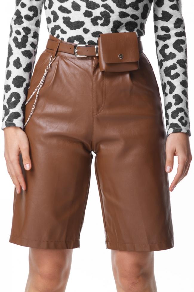 Shorts Ψηλόμεσο Δερματίνη με Beltbag